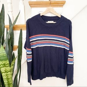 AEO navy blue sweater with stripes on the front S